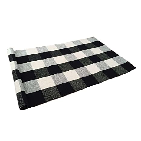 Amazon.com: USTIDE 100% Cotton Rugs Buffalo Plaid Rug Black/White ...
