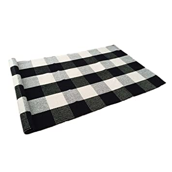 Ustide 100% Cotton Rugs Black/White Checkered Plaid Rug For Kitchen/  Bathroom/