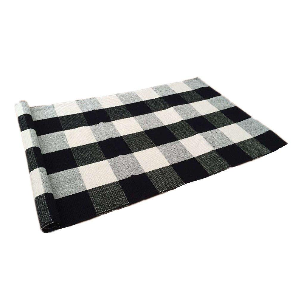 Ustide 100 Cotton Rugs Black White Checkered Plaid Rug