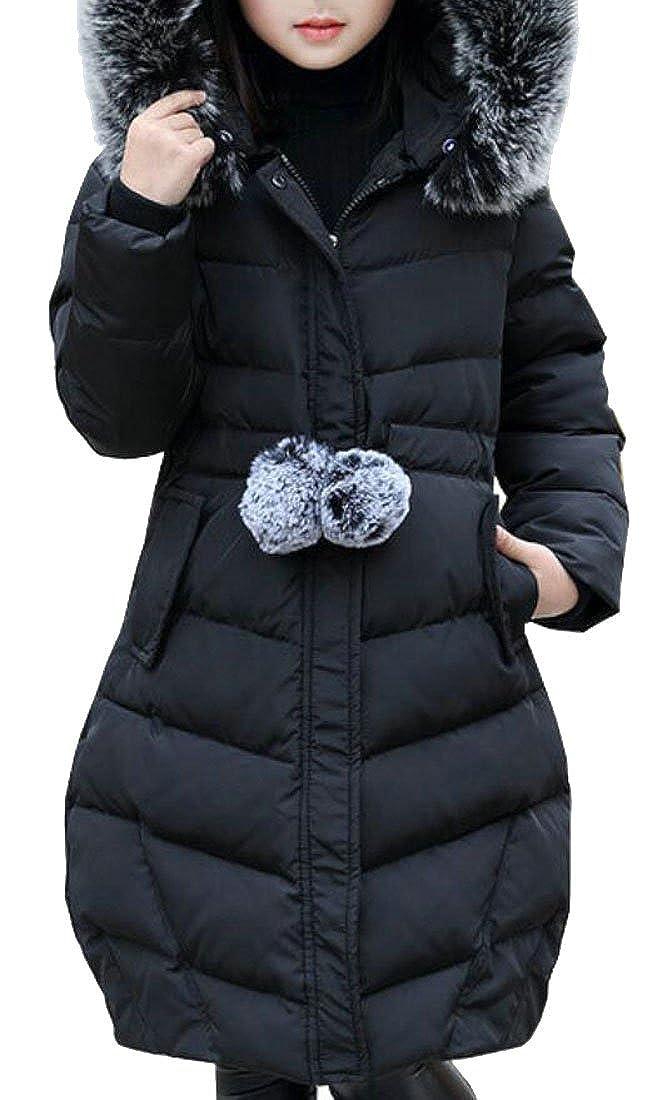 Alion Little Girl Fashion Slim Fit Faux Fur Hooded Down Coat