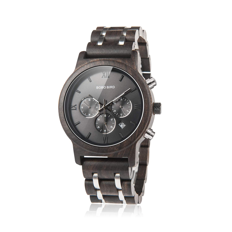 ef1950e1a Amazon.com: BOBO BIRD Mens Wooden Watches Luxury Wood Metal Strap  Chronograph & Date Dispaly Quartz Watch Versatile Male Timepieces (Metal  Black): Watches