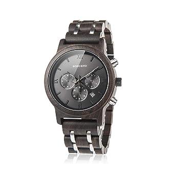 cf1af7760 BOBO BIRD Mens Wooden Watches Luxury Wood Metal Strap Chronograph & Date  Dispaly Quartz Watch Versatile