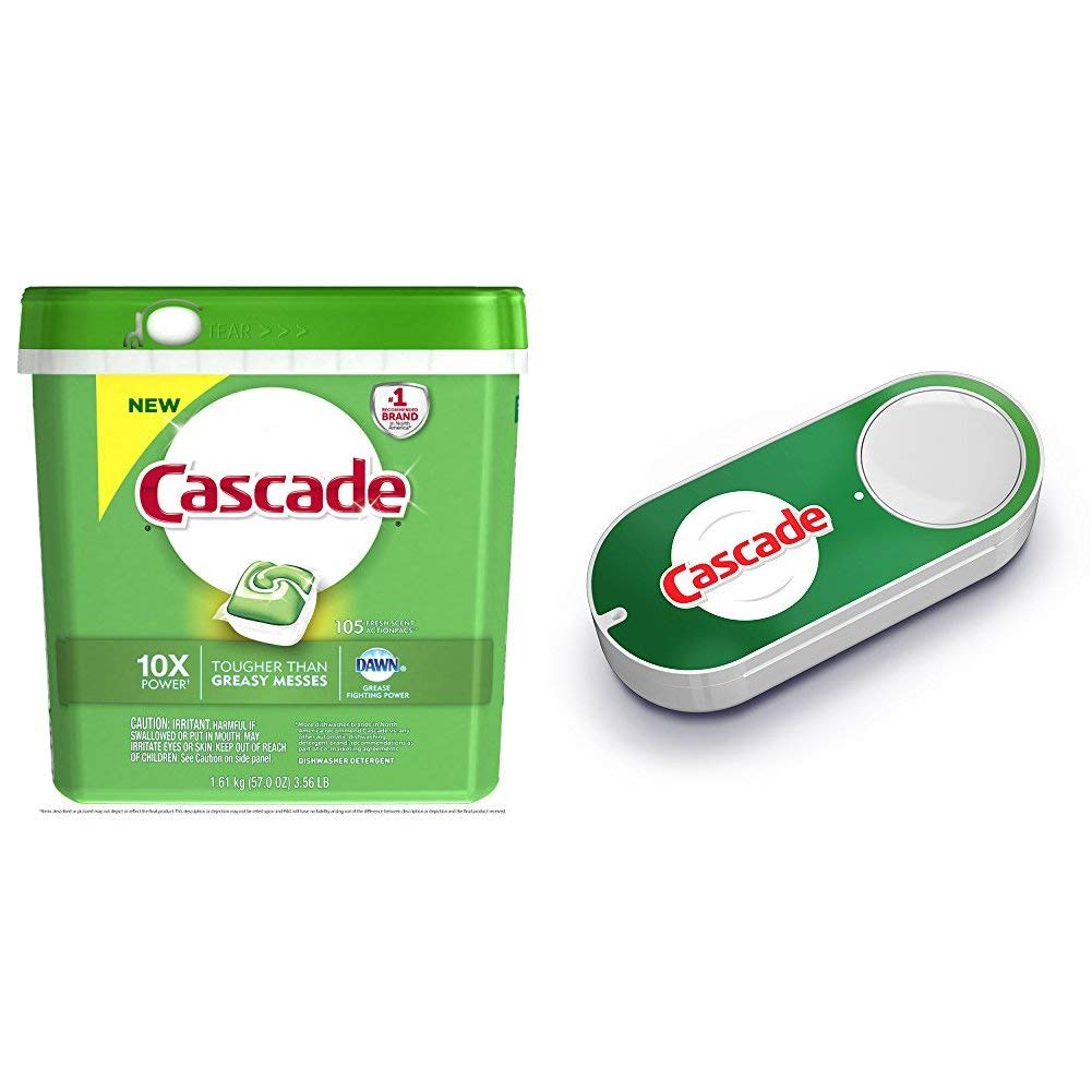 Cascade ActionPacs Dishwasher Detergent, Fresh Scent, 105 Count (Packaging May Vary) + Cascade Dash Button