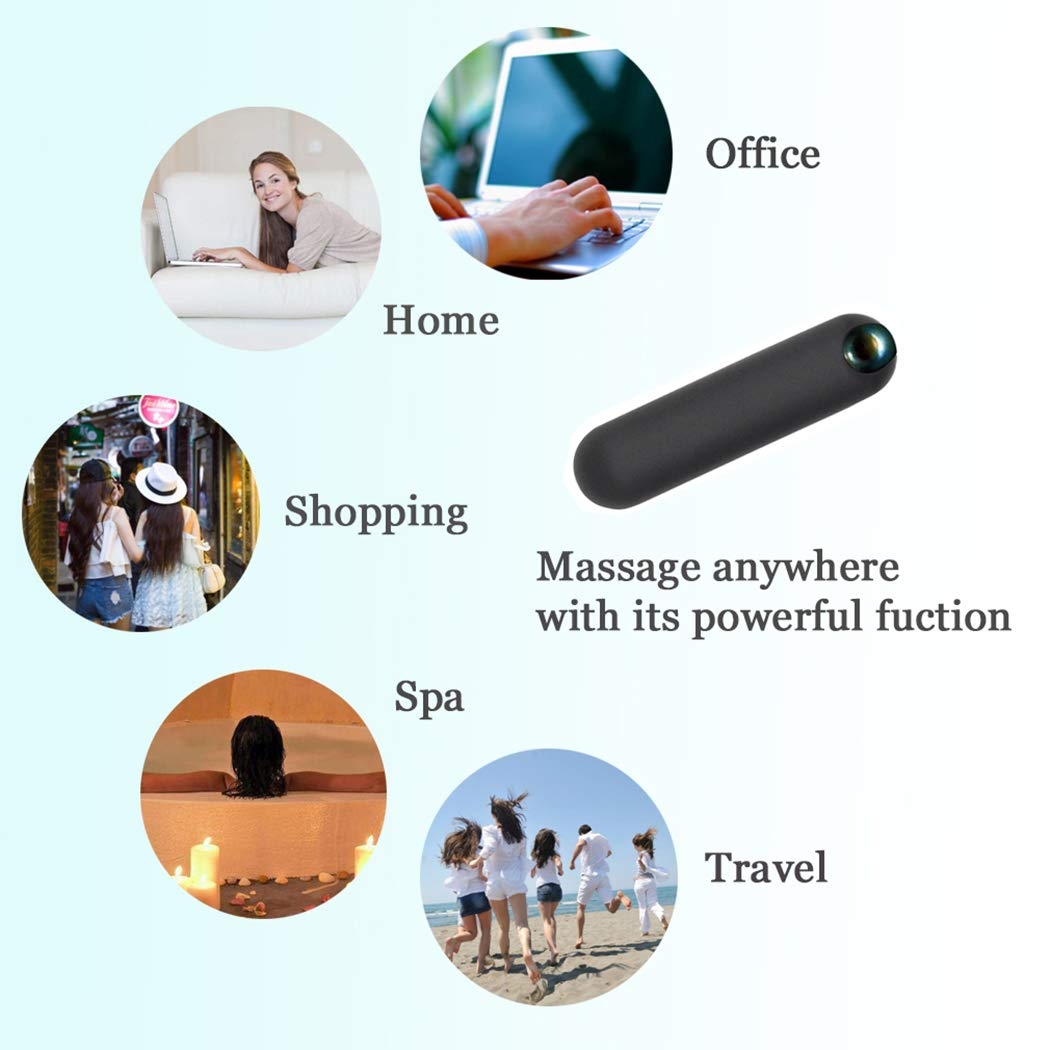 CAREMORE Mini Electric Wand Handheld Powerful Massager,Cordless Portable Pocket Travel Massager for Body Neck Back Shoulder,Wireless Personal, USB Rechargeable - Black by CAREMORE (Image #7)
