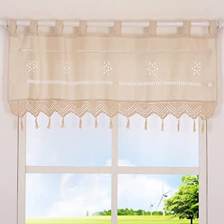 choicehot - Cortinas de lino de estilo rústico, color beige, de algodón, románticas, para cocina, modernas, para decoración de ventanas, tela, beige, H38 x B152 cm: Amazon.es: Hogar