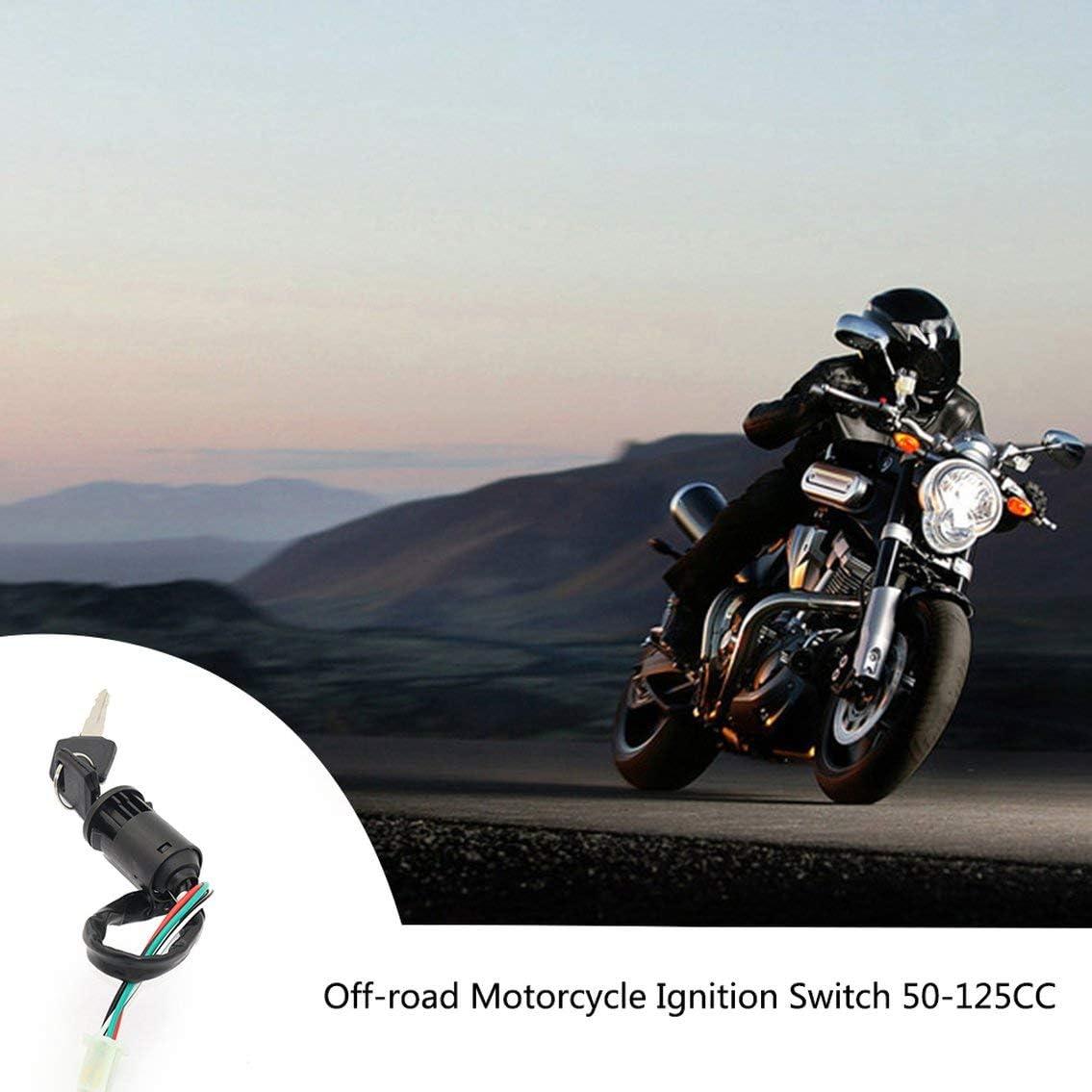4 Wire Ignition Key Barrel Switch for 50cc 110cc 125cc 250cc PIT Quad Dirt Bike ATV//Black