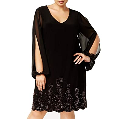 93274a79 Image Unavailable. Image not available for. Color: X by Xscape Womens Plus Cold  Shoulder Beaded Cocktail Dress Black 22W