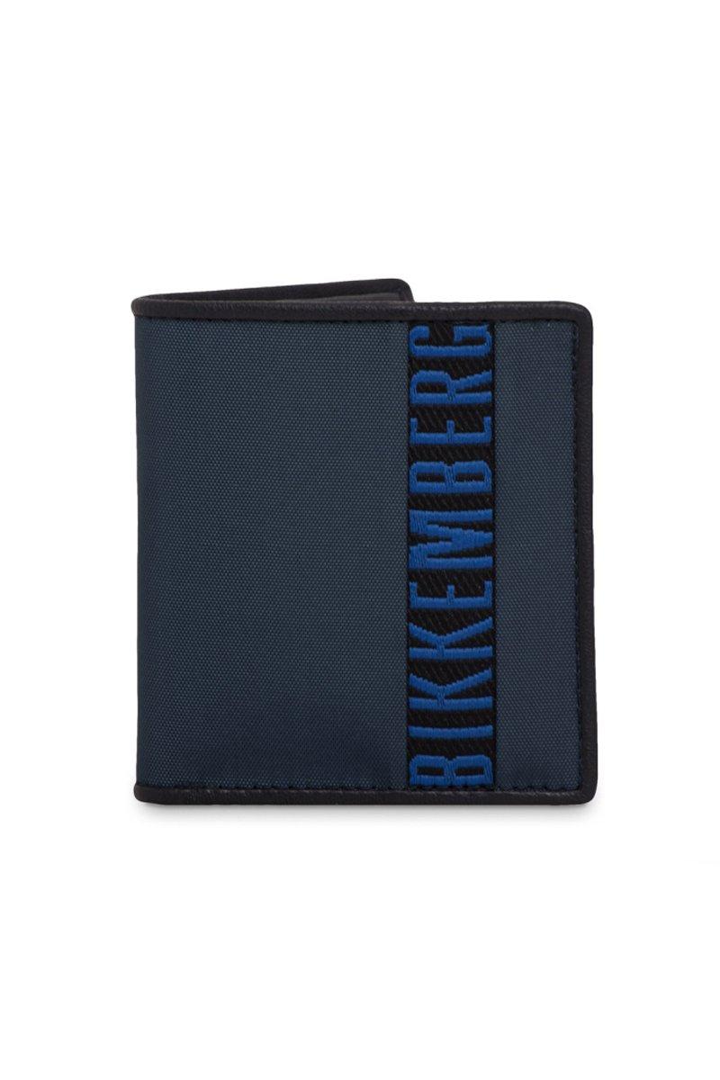 Bikkembergs Portafoglio Porta Carte di Credito Uomo in Pelle e Tessuto Tecnico Colore Blu