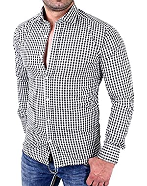 Clearance! Hot sale ! Men's Plaid Shirts Male Long Sleeve Slim Fit Business Casual Shirt