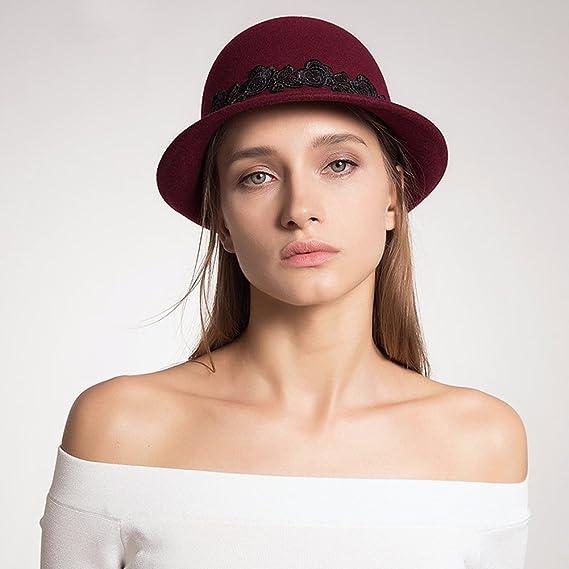 Mujer Jugador de bolos Sombrero Señoras Moda Vendimia Lana Melton Cordón Sombreros Gorra 80Store (Negro): Amazon.es: Ropa y accesorios