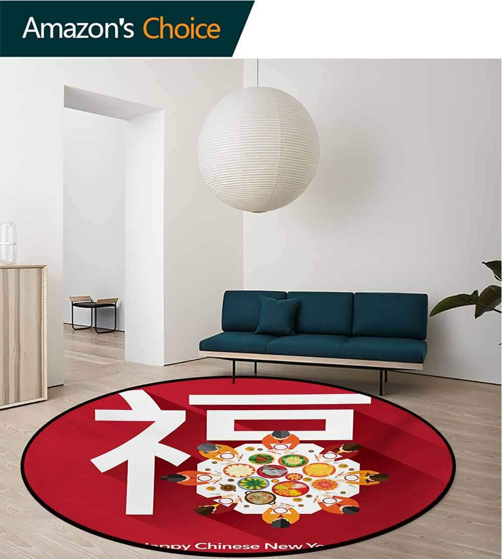 RUGSMAT Chinese New Year Modern Washable Round Bath Mat,Happy Family Sitting On The Festive Dinner Table with A Big White Letter Non-Slip Bathroom Soft Floor Mat Home Decor,Round-71 Inch