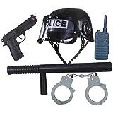 Conjunto de Policía para Niños | con Casco, Bastón, Pistola, Esposas y Walkie-Talkie | Armas de Juguete Infantil | Equipamiento Policial Chicos