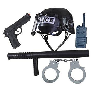 NET TOYS Conjunto de Policía para Niños   con Casco, Bastón, Pistola, Esposas y Walkie-Talkie   Armas de Juguete Infantil   Equipamiento Policial ...
