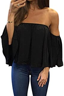 a31d02188ea BLUETIME Women Summer Off Shoulder Chiffon Blouses Ruffles Short Sleeves Sexy  Tops Casual T Shirts
