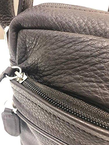 Borsello Fatto a Mano Made In Italy Uomo Paul.hide Nettuno Borsa da Uomo Tracolla Pelle Uomo Messenger Uomo Marrone 17 x 21 x 7,5 cm