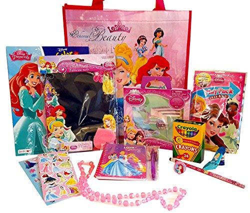 Cinderela Dress (DISNEY PRINCESS coloring Bundle Reusable Tote Coloring Books play pack Self inking stamper Stickers 24 Crayola Crayons Cinderela's Shoe Pencil Sharpener Necklace Pencil Journal + Free Gift 14 pc)