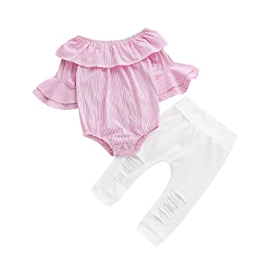 9af1c234ca41 Baby Girl Outfits 2Pcs Off The Shoulder Romper Tops High Waist Pants Outfit  Ruffle Onesie Pink