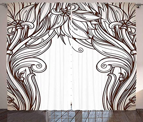 (Window Curtains Panel Set for Living, Dining Room, Bedroom Art Nouveau Kitchen Curtains,2 Panels,52