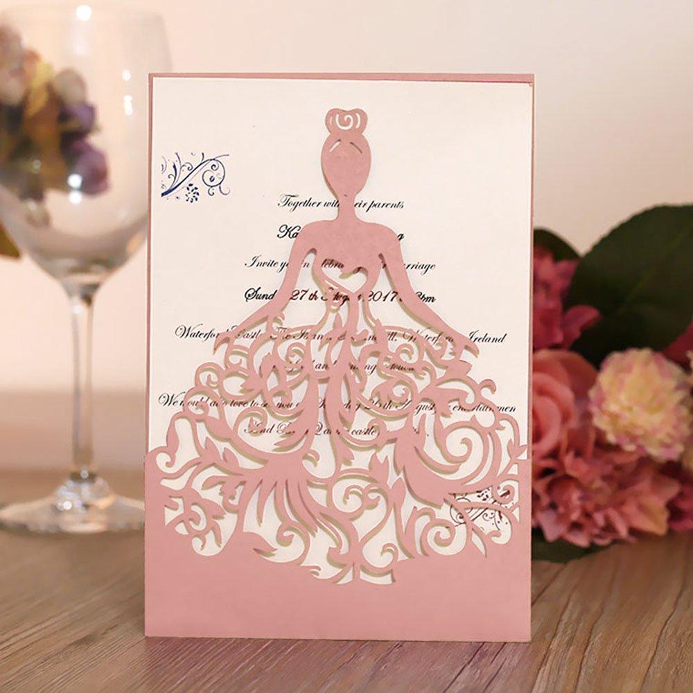 Amazon.com: 20 Pcs Lacer Cut Wedding Invitations Card Hollow Bride ...