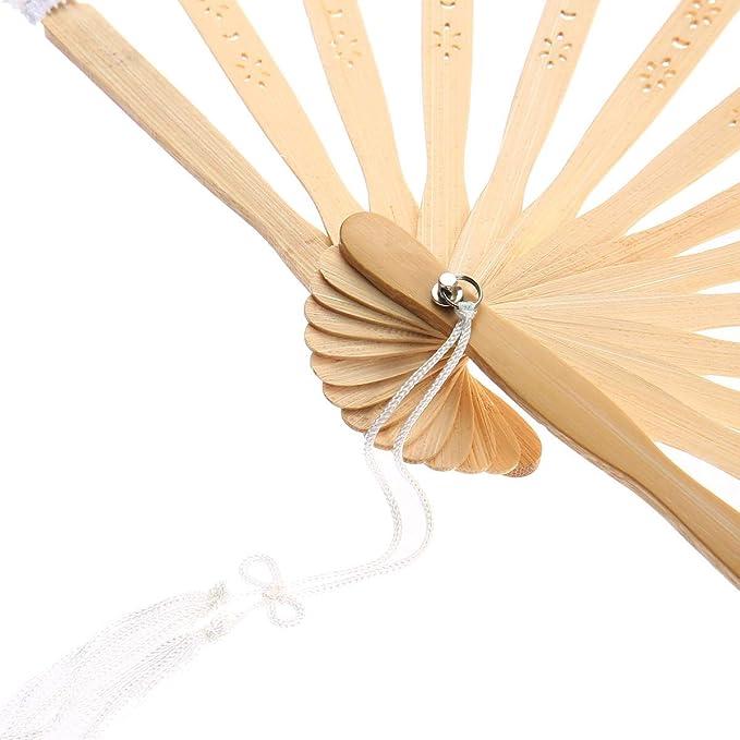 Naisidier Ventilador de Mano Plegable para Mujer con Borla para Boda Fiesta 20 cm Borla de Encaje abanicos de bamb/ú Huecos Regalo