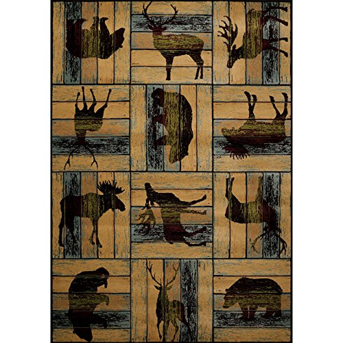 Hand Carved Animal Portraits Area Rug, Wild Forest Bears Moose Deer Themed, Rectangle Indoor Outdoor Hallway Doorway Living Area Bedroom Cabin Carpet, Artwork Lovers Design, Tan, Brown Size 1'10 x 3' - Moose Portrait
