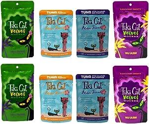 Tiki Cat Aloha Friends / Velvet Mousse Grain Free Cat Food 4 Flavor Variety 8 Pouch Bundle, 2 Each: Tuna Mackerel, Tuna Pumpkin, Tuna Calamari Pumpkin, Wild Salmon (2.8-3 Ounces)