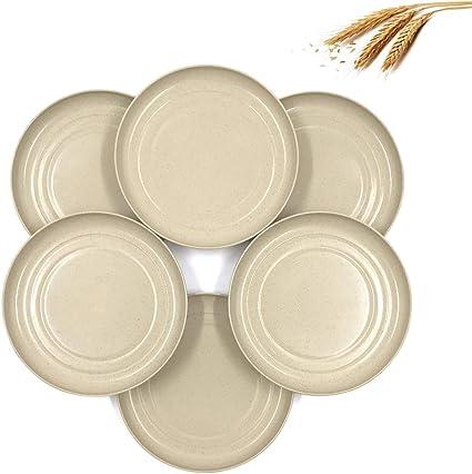Piatti da Tavola per Bistecca di Pasta Dessert Alla Frutta Piatti da Pranzo 4 Pcs Riutilizzabili Infrangibili Piatti di Paglia di Grano Beige LELE LIFE Grandi Piatti in Paglia di Grano 25cm