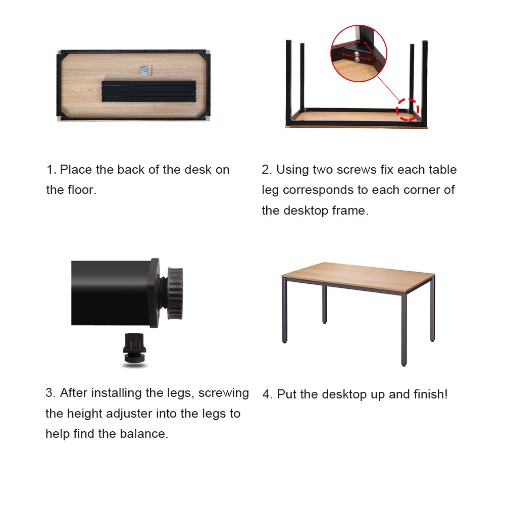 Dland 47'' Medium Computer Desk, Composite Wood Board, Decent & Steady Home Office Desk/ Workstation/ Table, BS1-120WW White & White Legs, 1 Pack by Dland (Image #9)