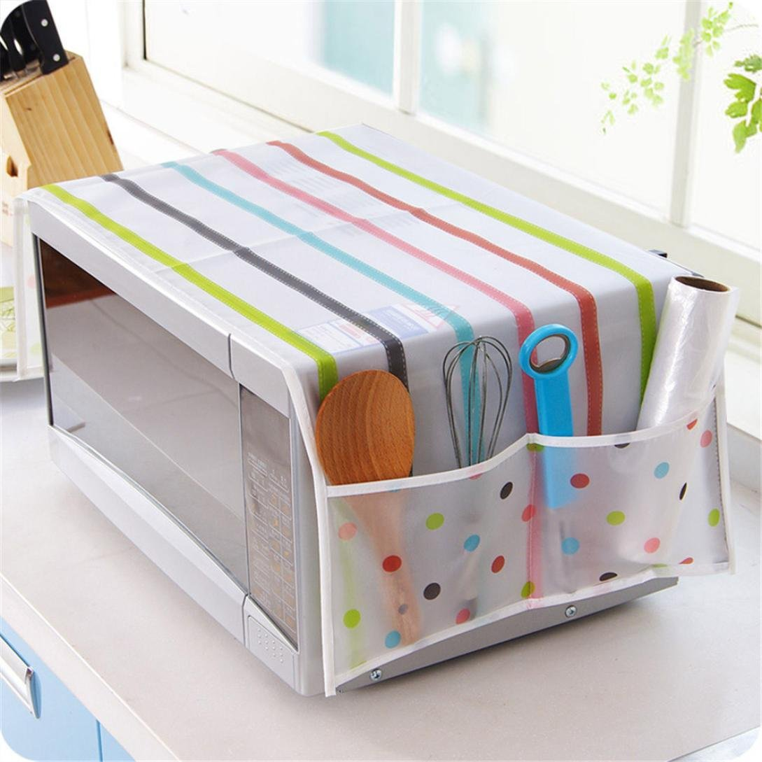 Transer Waterproof Oil Dust Proof Cloth Dustproof Cover Protector with Double Pockets for Microwave Oven (C)