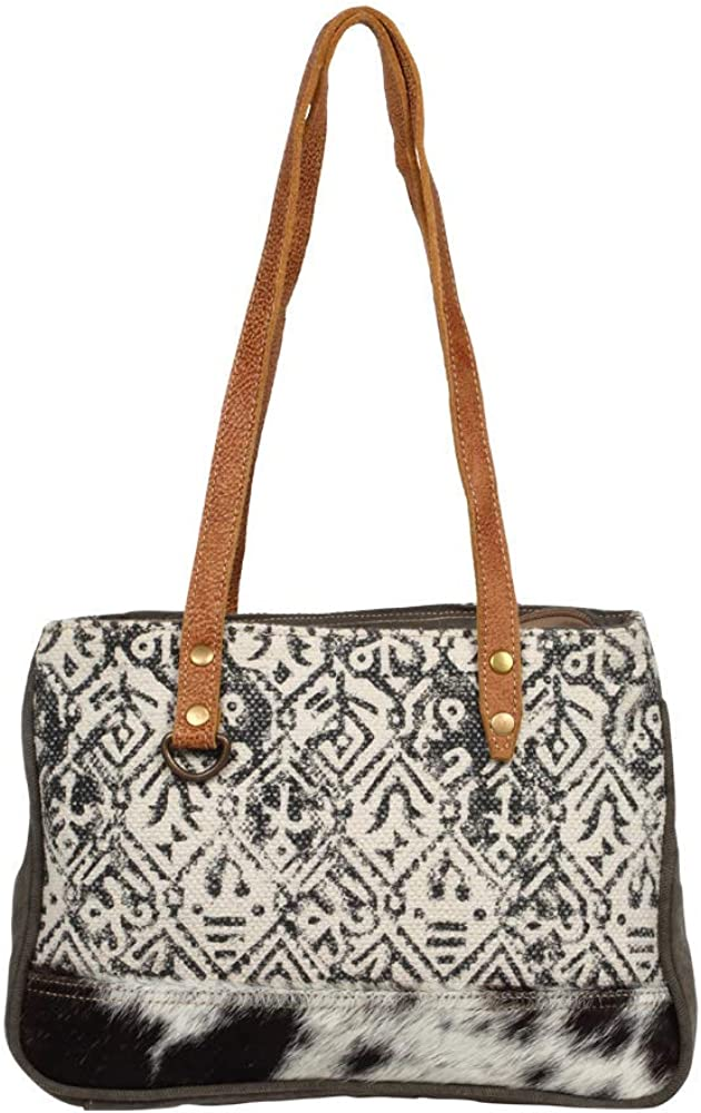 Myra Bag Spencer Upcycled Canvas & Cowhide Leather Bag S-1246