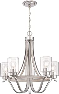 Westinghouse Lighting 6576900 Barnwell Five-Light Indoor Chandelier, Antique Ash and Brushed Nickel Finish with Clear Seeded Glass
