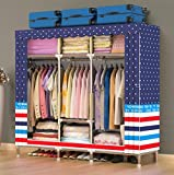 GL&G Oxford cloth Portable Wardrobe Clothes Steel Pipe Storage Organizer Closet with Hanging Rack - Extra Wide -No-tool Assembly - Extra Strong and Durable ,B,67''67''