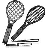 GH 薄いグリップ スイッチラケット ! 大型サイズ マリオテニス エースラケット 任天堂 Switch Joy Con に対応 2個 セット(黒2)