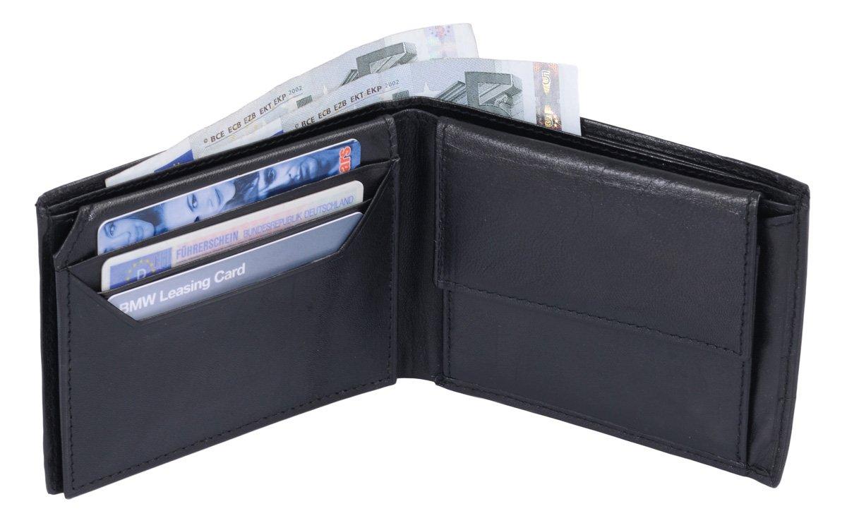 Portefeuille TOSCANA, cuir véritable, noir 12x10cm 13.01.139