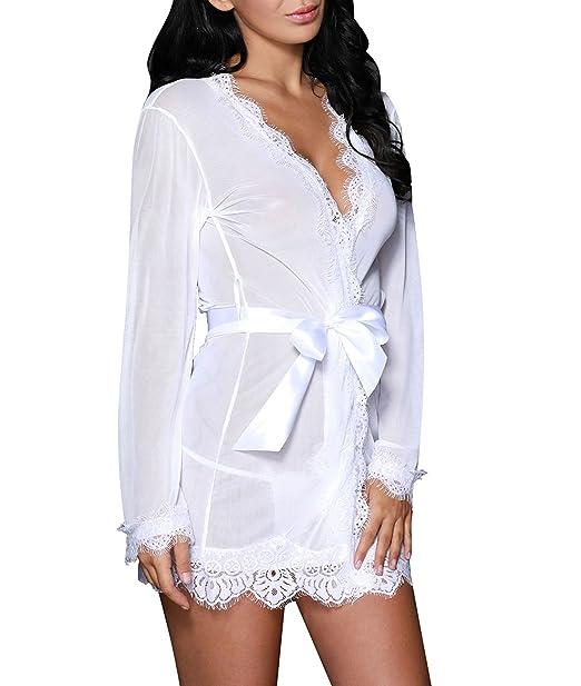 5e9430e4fb Lalagen Women s Lace Sexy Plus Size Lingerie Sleepwear Robe G-String Set (M
