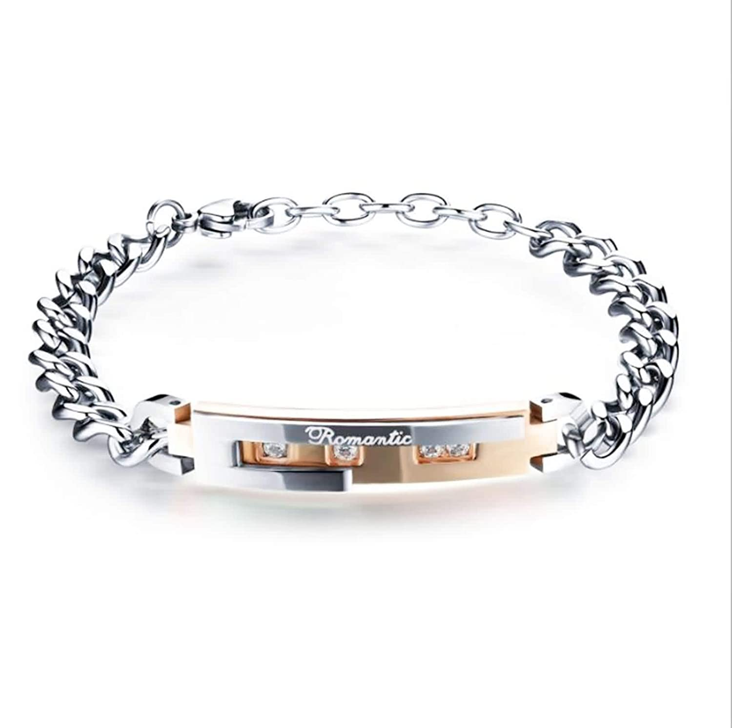 ANAZOZ Jewelry Stainless Steel Chain Link Bracelet for Unisex Adult Engraved Romantic Zirconia Black Rose Gold