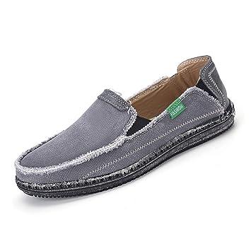 ZHRUI Hombres Mocasines Zapatillas Zapatos Jeans Lona Resbalón Transpirable Pisos Sandalias Casual (Color : Gris, tamaño : 10=45 EU): Amazon.es: Hogar