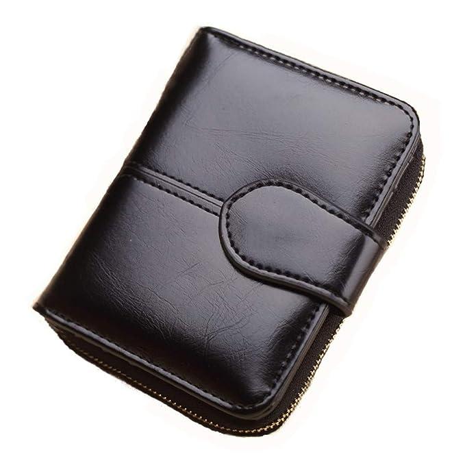 Wallet Short Wallet PU Womens Purse Zipper&Button Purse Red Small Wallet Coin Pocket Cartera Black