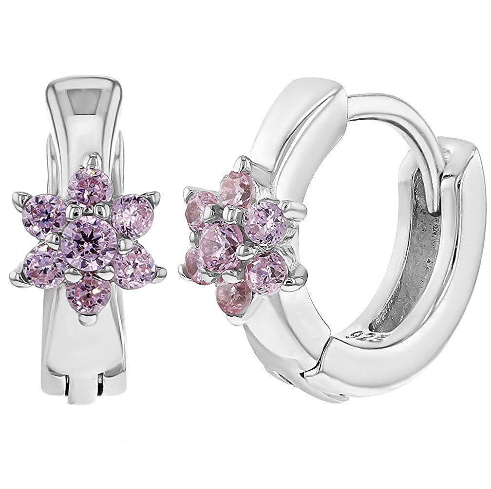 925 Sterling Silver Pink CZ Flower Hoop Earrings Infants Girls Huggie 0.39
