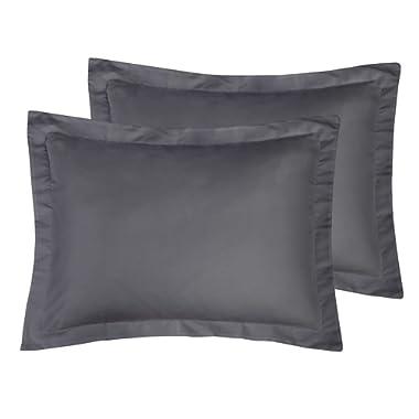 ALCSHOME Standard Pillow Shams Pack of 2, 100% Brushed Microfiber, Ultra Soft, Dark Grey