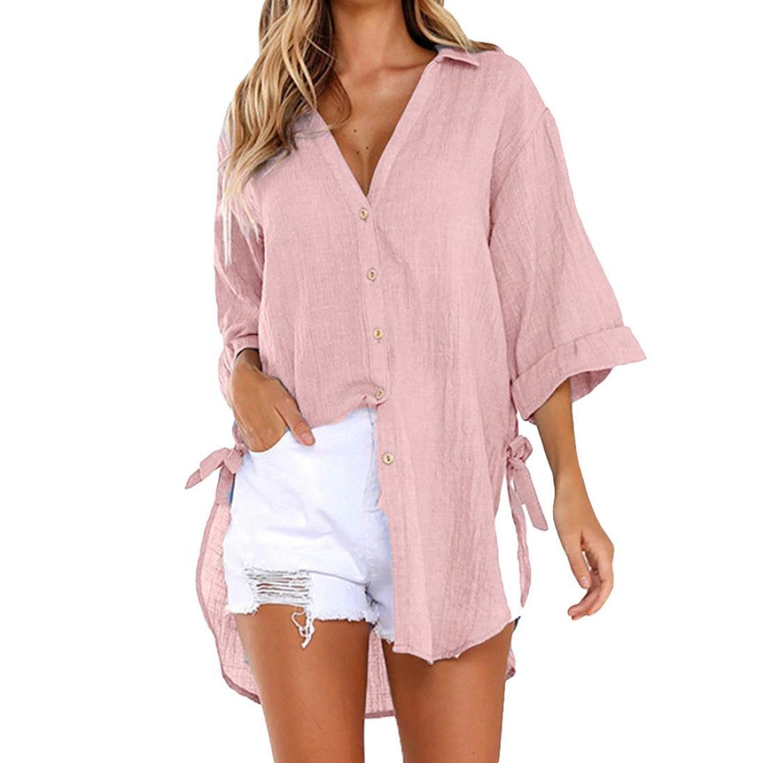 Flurries Women Dress, Womens Loose Button Long Shirt Dress Cotton Ladies Casual Tops T-Shirt Blouse (XL, Pink)