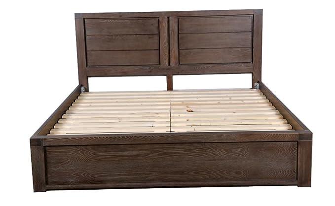 Leyuan Furniture 1,8 m Madera Maciza Cama de Madera Cama de Plataforma Marco y cabecero de Cama, ELM, Estilo Moderno, Espresso: Amazon.es: Hogar