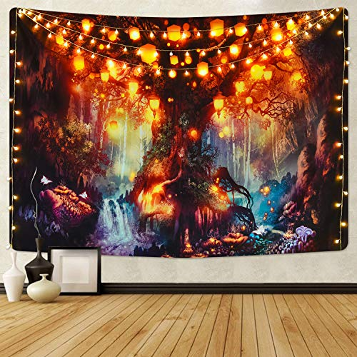 Forest Fairy Tales Tapestry, Mystical Shining Lanterns and Waterfalls Under Magical Enchanted Tree Tapestry, Fantasy Ancient Tree of Life Tapestry for Room
