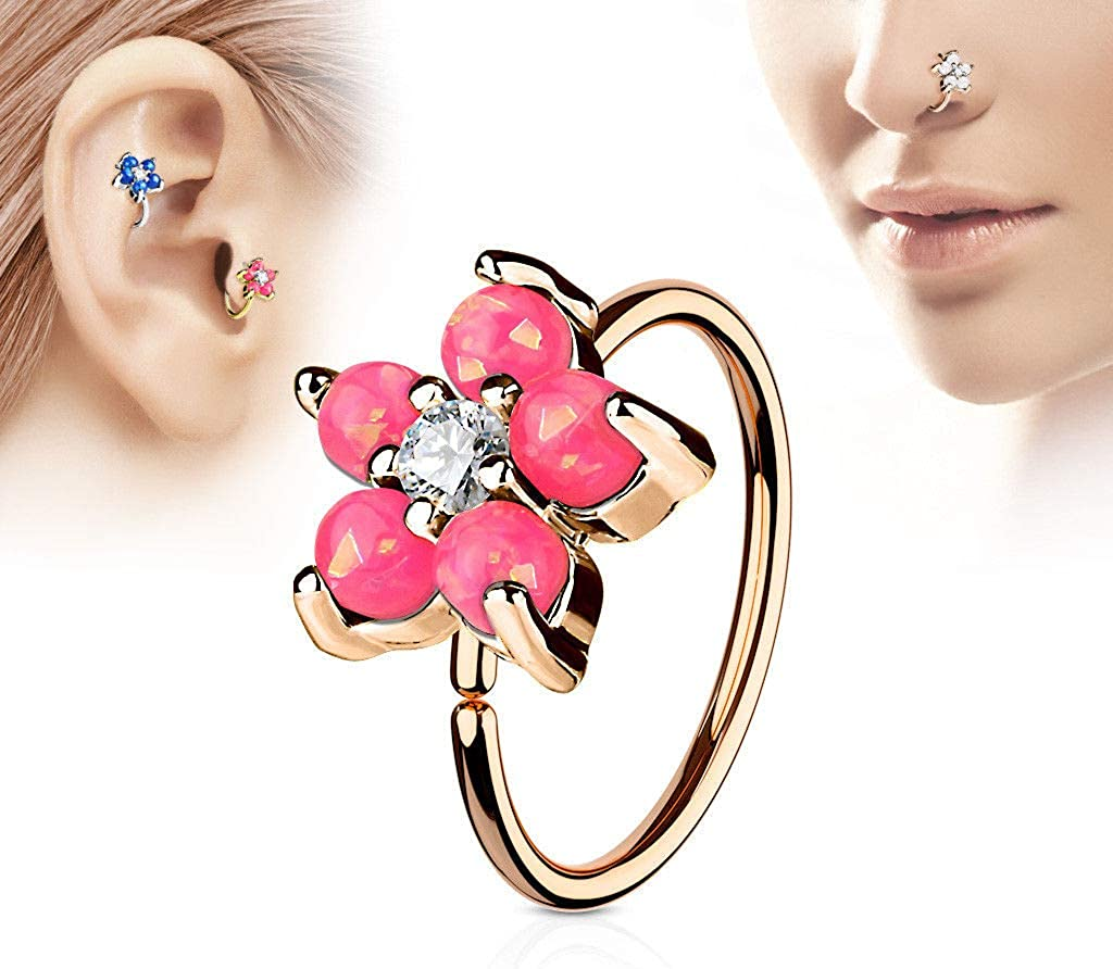 rini/_mc2 1 Pc Opal Pink CZ Flower Rose Gold IP Helix Tragus Rook Snug Daith Hoop Nose Ring Piercing