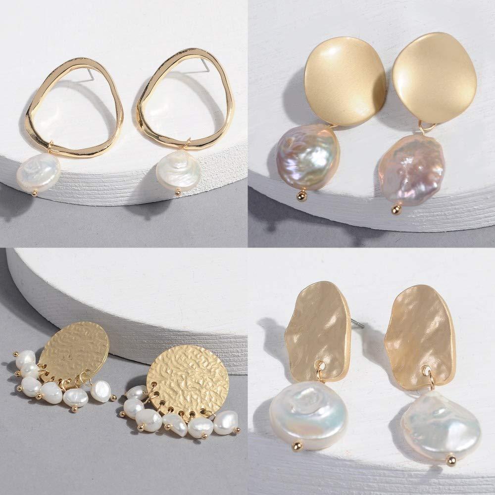 Wecottkerc Korean Earrings Baroque Pearl Earrings For Women For Girls Gold Dangling Earrings Birthday Gifts For Women E8131