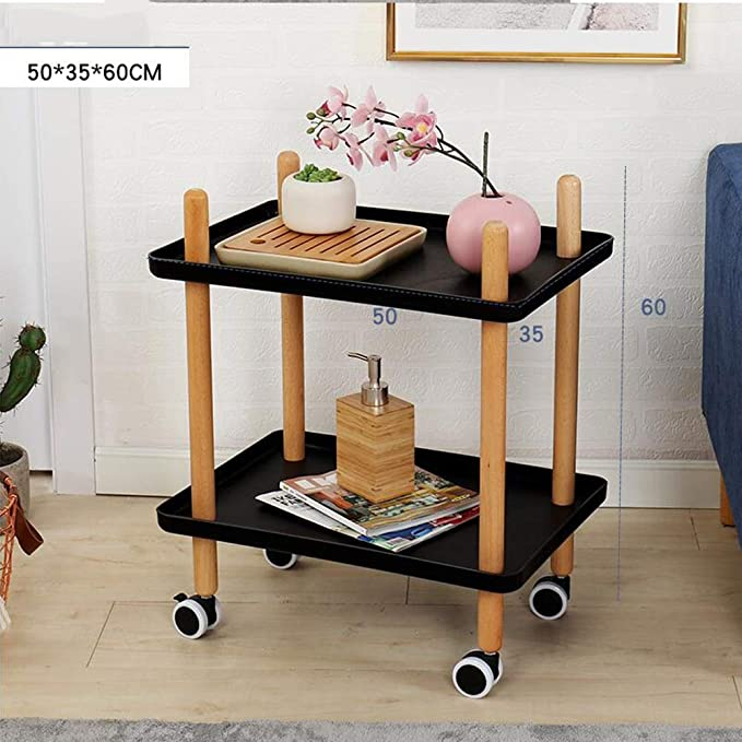 Amazon.com: Tables MEIDUO Sofa Side with Wheels, Tray End Living Room Bedroom, 2-Tier Nightstand Utility Rolling Cart 2 Colors (Color : Black-1001, ...