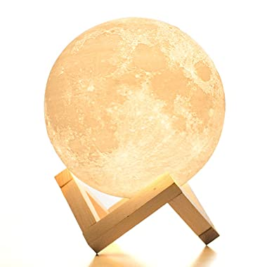 BRIGHTWORLD Moon Lamp, 3D Printing Lunar Lamp Night Light as Kids Women Girls Gift, USB Charging and Touch Control Brightness Two Tone Warm and Cool White 5.9in (Upgraded Version)