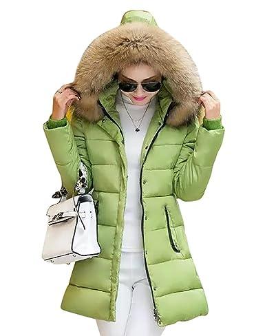 YOUJIA Winterjacken Mäntel für Damen, Warme Einfarbig Winterparka Lang Parka mit Kunstpelz Kapuzen