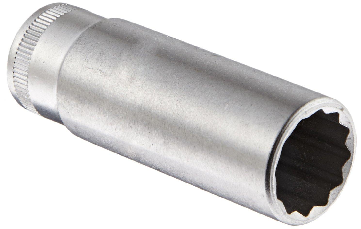 Stahlwille 46-15 Steel Extra Deep Bi-Hexagon Socket, 3/8'' Drive, 12 Points, 15mm Diameter, 60mm Length, 20.6mm Width