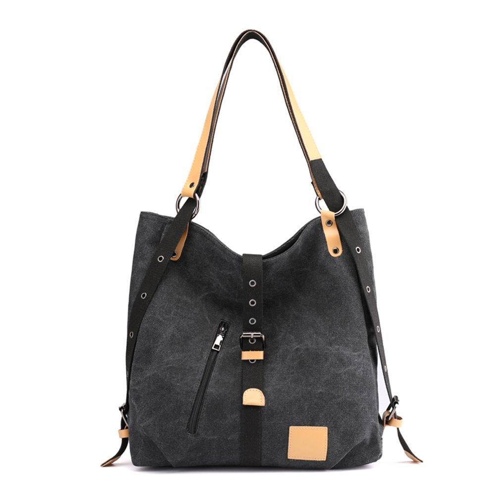 Women Fashion Shoulder Bag Backpack, Multifunctional Canvas Handbag